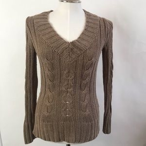 Banana Republic Knit Brown V-Neck Sweater
